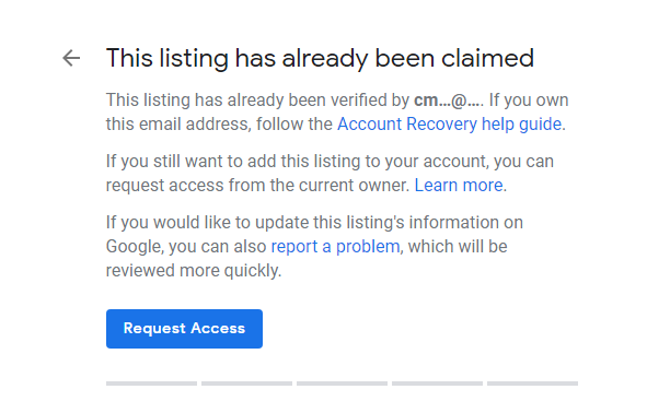 Request access to an existing GMB listing